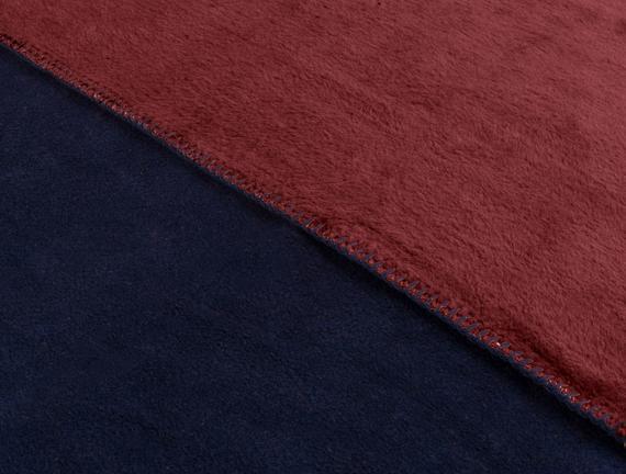 Couleur Çift Kişilik Pamuklu Battaniye Lacivert / Kırmızı