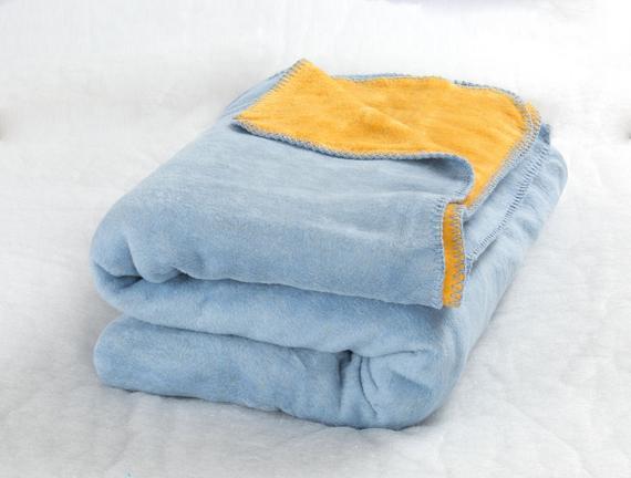 Couleur Çift Kişilik Pamuklu Battaniye Açık Mavi Sarı