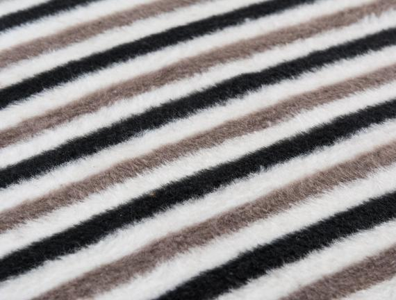 Stripped Çift Kişilik Pamuklu Battaniye Siyah / Gri