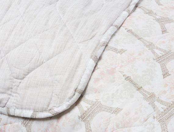 Çift Kişilik Yatak Örtüsü - Pudra / Taş