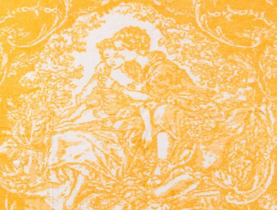 Cadre Çift Kişilik Pamuklu Jakarlı Battaniye Sarı