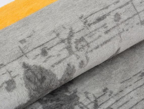 Note Çift Kişilik Pamuklu Jakarlı Battaniye Gri / Sarı