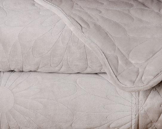 Pantin Tek Kişilik Kadife Yatak Örtüsü Taş