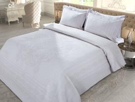 La Belle Epoque Tek Kişilik Örme Yatak Örtüsü Seti - Taş