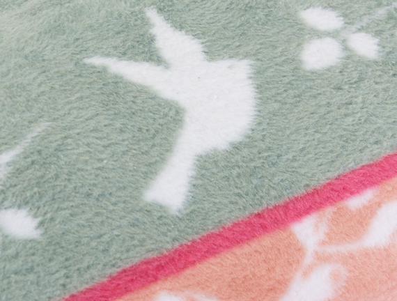 Daisy Çift Kişilik Pamuklu Jakarlı Battaniye Pudra / Yeşil