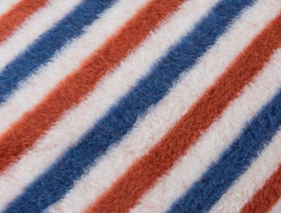 Striped Tek Kişilik Pamuklu Battaniye Lacivert / Turuncu