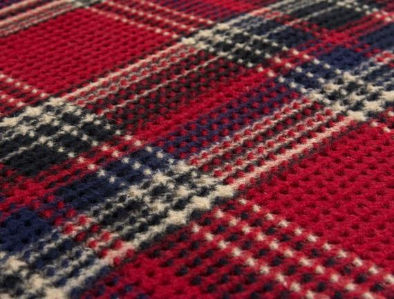 Plaid / Tek Kişilik Ekoseli Pamuklu Battaniye - Kırmızı / Lacivert
