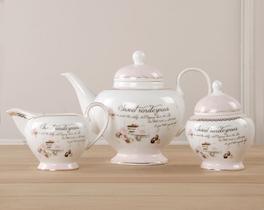 3lü Porselen Çay Takımı
