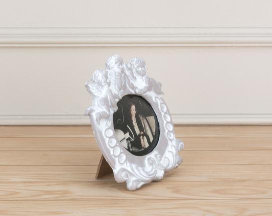 Melek Figürlü Oval Çerçeve - Bej