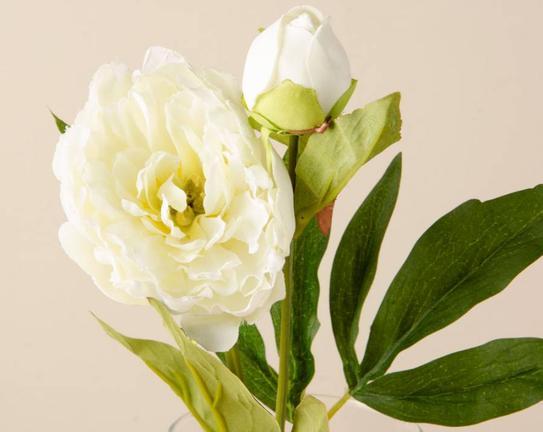 Dekoratif Yapay Çiçek Beyaz Şakayık 39cm