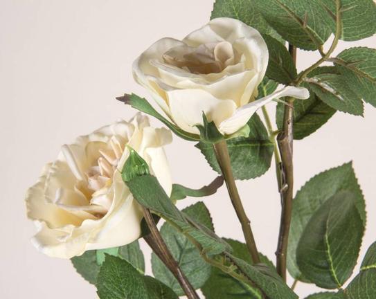 Dekoratif Yapay Çiçek Beyaz Gül 39cm