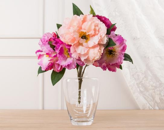 Dekoratif Yapay Çiçek - Fuşya / Pudra Şakayık Buket