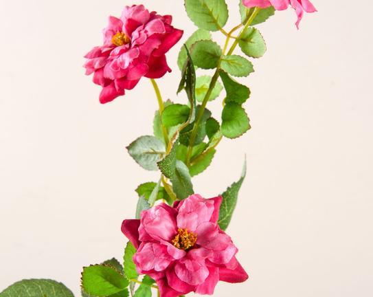 Dekoratif Yapay Çiçek Pembe Gül 51cm