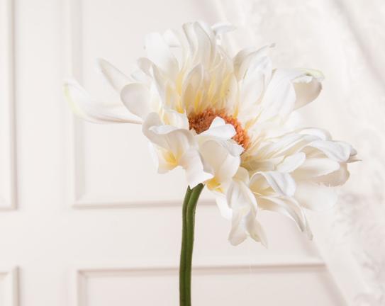 Dekoratif Yapay Çiçek Beyaz Gerbera 65cm