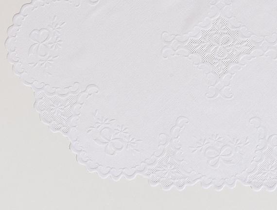 4'lü Vinil Oval Amerikan Servis - Beyaz