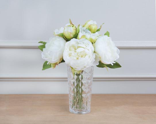 Dekoratif Yapay Çiçek Buket Beyaz Şakayık 30cm