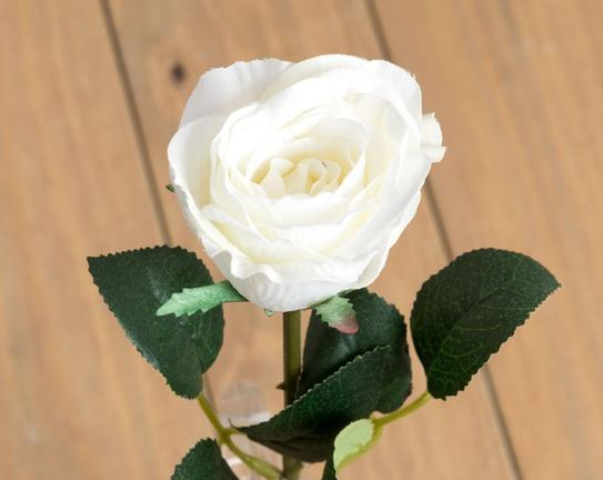 Dekoratif Yapay Çiçek Beyaz Gül 32cm