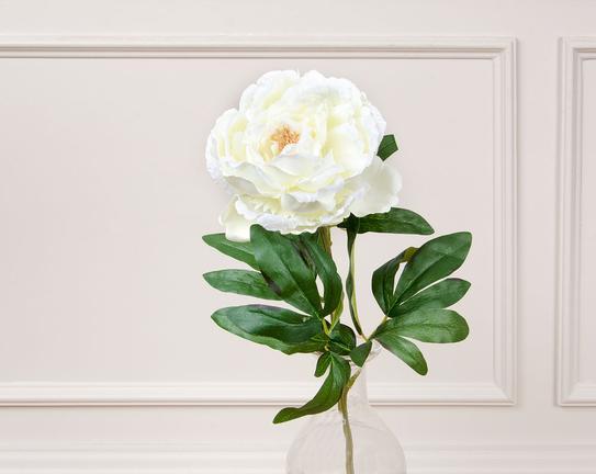 Dekoratif Yapay Çiçek Beyaz Şakayık 74cm