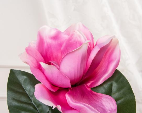 Dekoratif Yapay Çiçek - Koyu Pembe Manolya