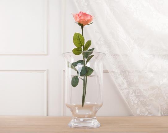 Dekoratif Yapay Çiçek Pembe Gül 63cm