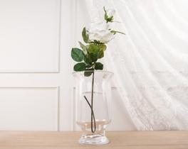 Dekoratif Yapay Çiçek Beyaz Gül 82cm