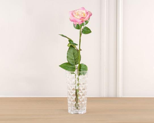 Dekoratif Yapay Çiçek Pembe Gül 47cm