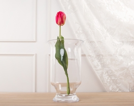Dekoratif Yapay Çiçek Koyu Pembe Lale 54cm
