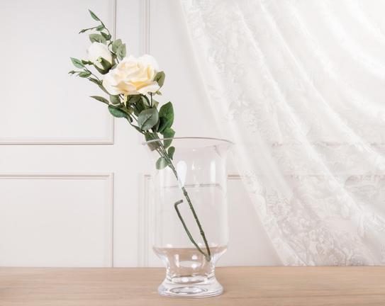 Dekoratif Yapay Çiçek Beyaz Gül 87cm