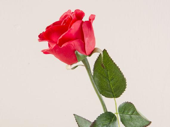 Dekoratif Yapay Çiçek Kırmızı Gül 55cm