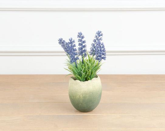 Dekoratif Yapay Çiçek Yumurta Saksılı Lavanta 17cm