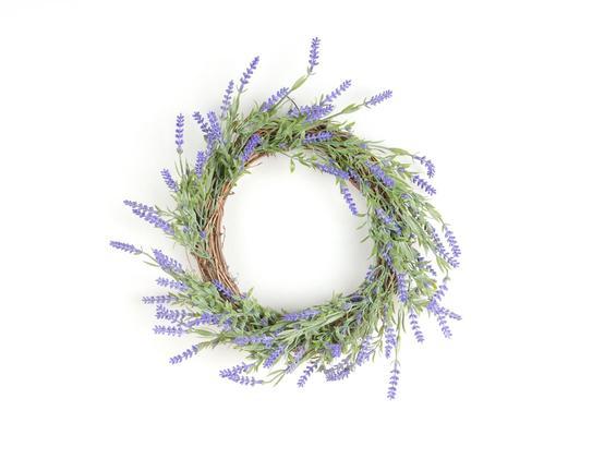 Dekoratif Yapay Çiçek Lavanta Çelenk 39cm