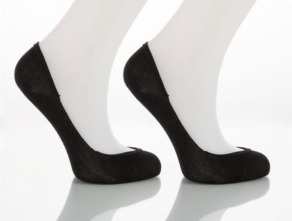 2'li Kadın Babet Çorabı - Siyah / Siyah