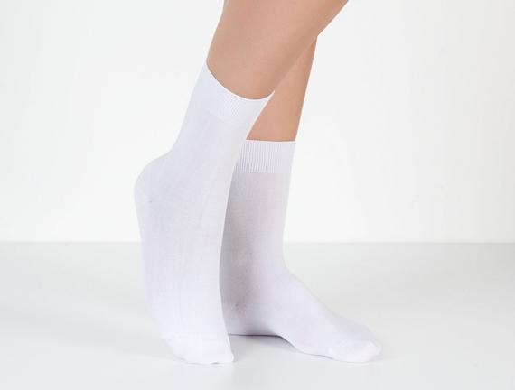Tek Renk Soket Kadın Çorabı - Beyaz