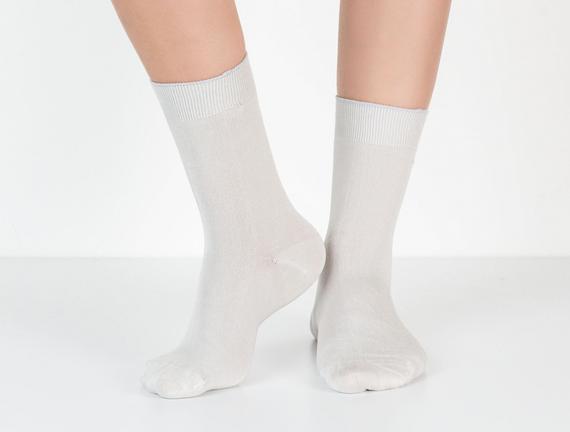 Tek Renk Soket Kadın Çorabı - Taş