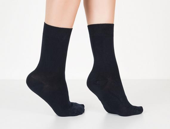 Tek Renk Soket Kadın Çorabı - Lacivert