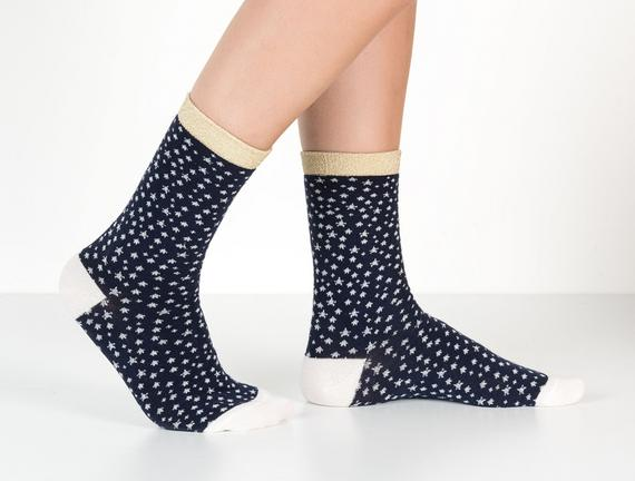 Simli ve Yıldız Desenli Kadın Çorabı - Lacivert