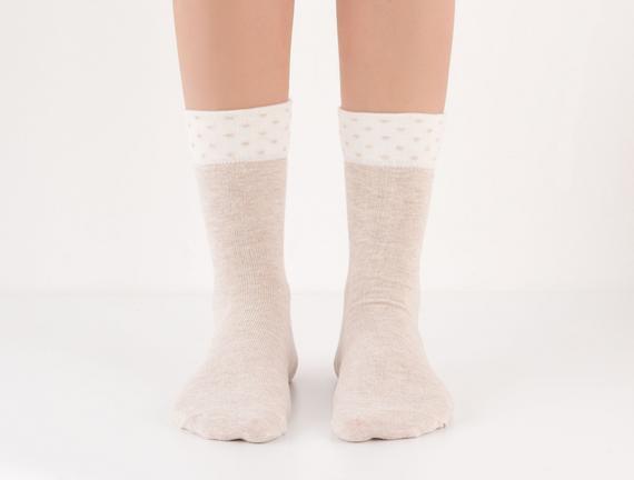Puantiyeli Kadın Çorabı - Bej
