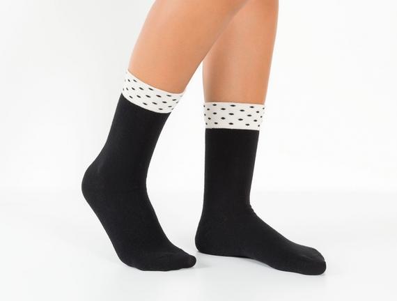 Puantiyeli Kadın Çorabı - Siyah
