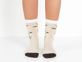 2li Kuşlu ve Düz Bayan Çorap - Yeşil/Taş