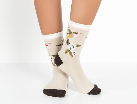 2'li Kuş Temalı Kadın Çorabı - Yeşil / Taş