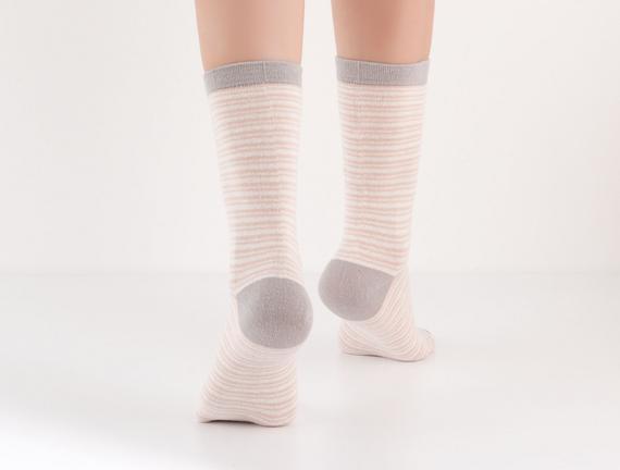 2'li Çizgili ve Ekoseli Kadın Çorabı - Pudra