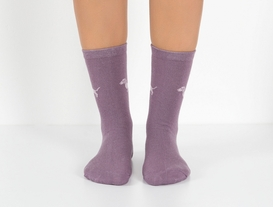 2'li Köpek Temalı Kadın Çorabı - Mürdüm