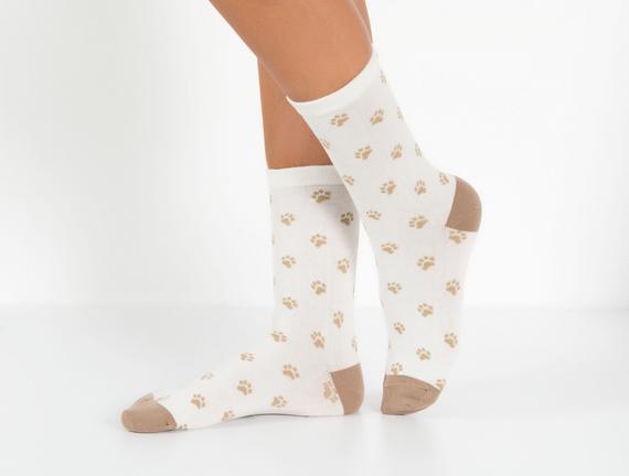 2'li Köpek Temalı Kadın Çorabı - Kahve