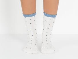 2li Açık ve Koyu Puantiyeli Bayan Çorap - Mavi
