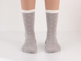 2'li Puantiyeli Kadın Çorap - Gri