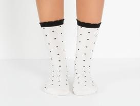 2'li Puantiyeli Kadın Çorap - Siyah