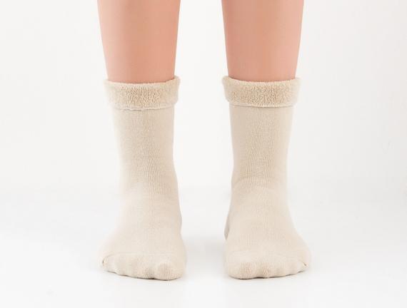 Kıvrık Havlu Kadın Çorabı - Bej