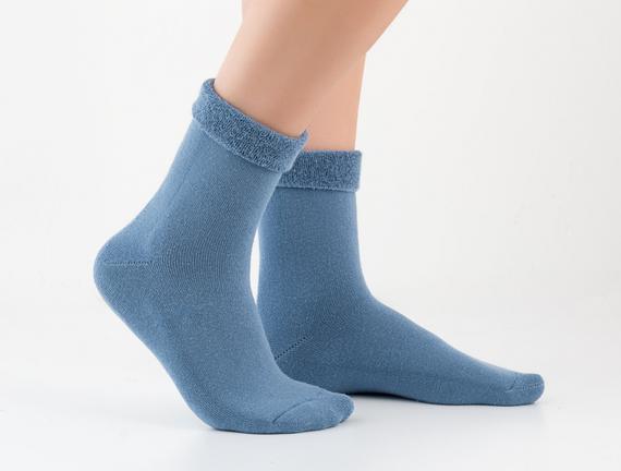 Kıvrık Havlu Kadın Çorabı - Koyu Mavi