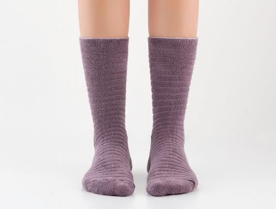 Ters Havlu Bayan Çorap Mürdüm