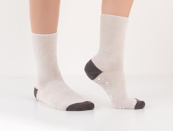 Kaymaz Tabanlı Havlu Kadın Çorabı - Taş